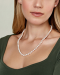 7.0-7.5mm Freshwater Pearl Necklace & Earrings - Model Image