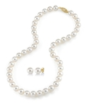 7.0-7.5mm Freshwater Pearl Necklace & Earrings - Third Image